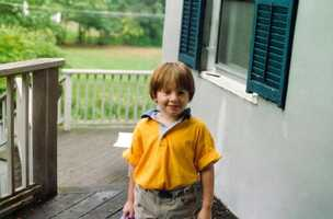 Here's David's first day of kindergarten. David picked out a yellow shirt, because that was his favorite color at the time. It has since changed to blue.