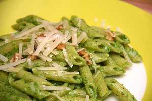 David says his favorite food is pasta with pesto. Yum!