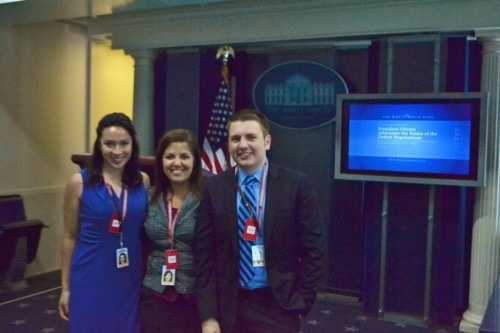 David spent a semester abroad in London. He also spent a semester in graduate school in Washington, DC. Here he is in the White House Press Briefing Room. Behind him is where the press secretary and the president stand when addressing reporters.