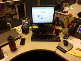 This is David's desk at WMTW. He describes it as both cluttered and orderly, depending on the day.