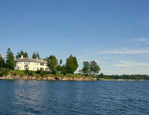 The home is located on 9 acres on a private island that is accessible only by boat.