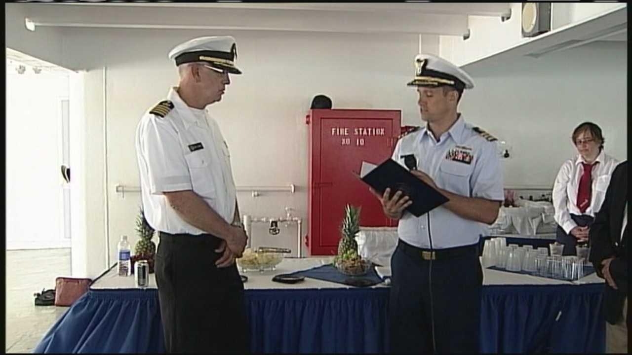 The Coast Guard honored the crew aboard the training ship State of Maine after they rescued a man at sea.