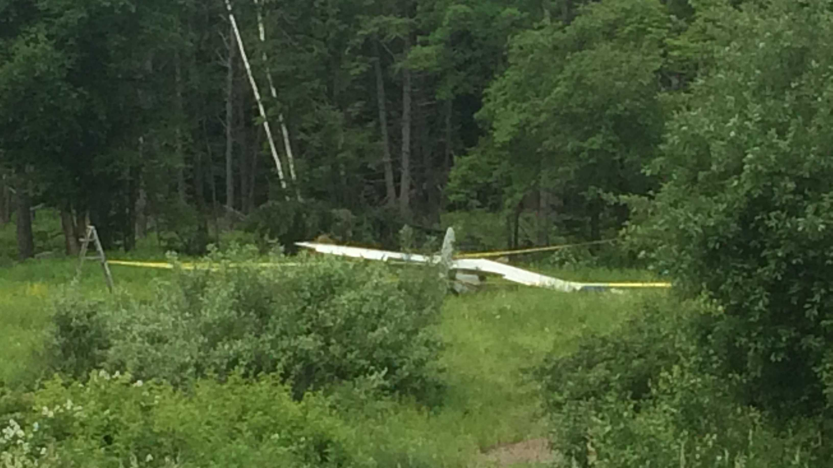 A small plane crashed off Hadley Road in Laconia on Thursday morning.