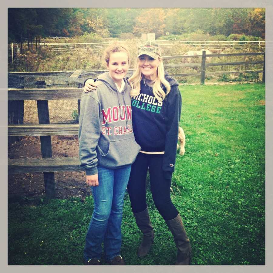 Erin loves visiting her family in Massachusetts. This is her with her sister, Liliana, at their farm in Upton.