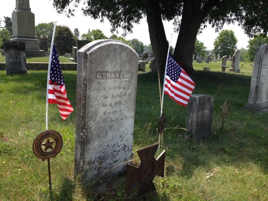 A Confederate flag was removed from the grave of an unknown Civil War soldier at a cemetery in the town of Gray.