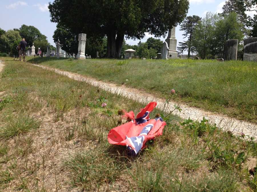 The flag was found blowing across the cemetery Friday.