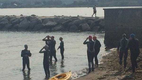 First time participants of the Tri For A Cure learn techniques to prepare them for the conditions of an open water swim.