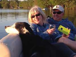 """Got to love boating on a beautiful lake with great company,"" Steve says."