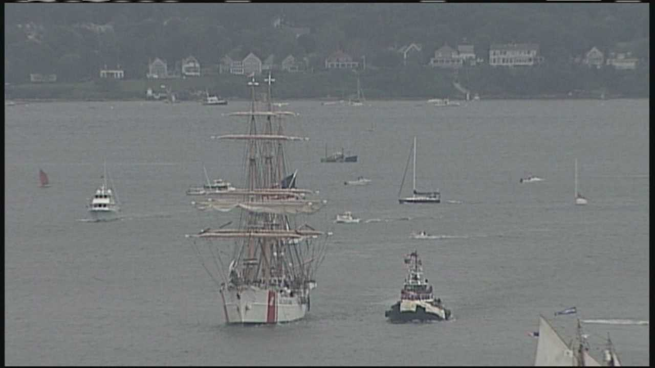 Tall ships paraded from Portland Head Light to Portland Harbor on Saturday. Visitors can climb on board Sunday and Monday.