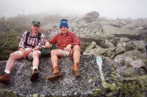 Travis is 'not cool' with heights. On this trip to the top of Katahdin, he wasn't upset it was overcast.