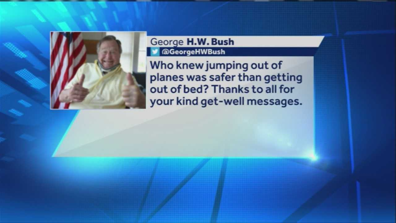 Former President George H.W. Bush took to Twitter to thank everyone who has sent get well messages since he fell and broke a bone in his neck at his Kennebunkport home earlier this month.