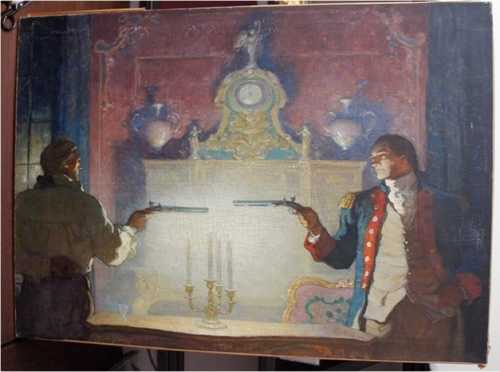 The four paintings were found at a Beverly Hills pawn shop.