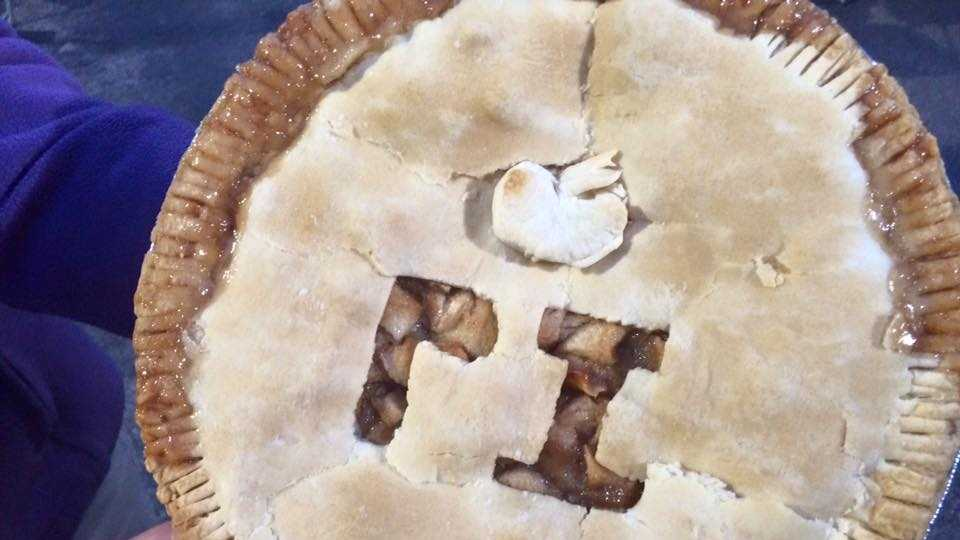 Runners enjoy homemade pies at the end of this 3.14 mile race.