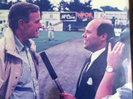 Norm interviewed former President George HW Bush on three separate occasions—each time during one of his visits to Hadlock Field.