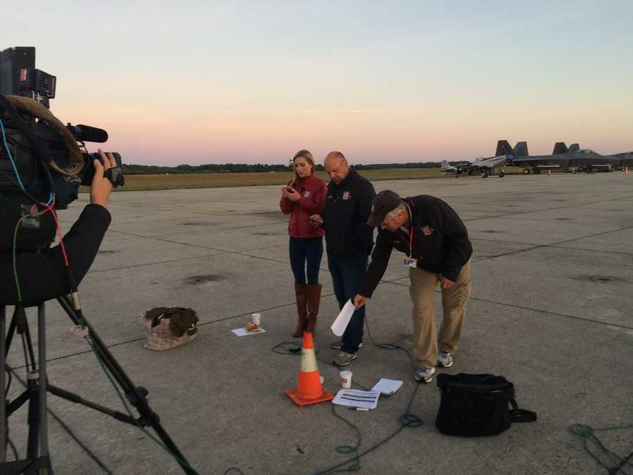 WMTW News 8 This Morning anchors wait for their next segment from the Great State of Maine Air Show at Brunswick Landing. To the right is satellite truck operator Keith Kettelhut.