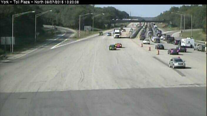 The York Toll Plaza traffic camera at about 10:20 a.m. Monday.