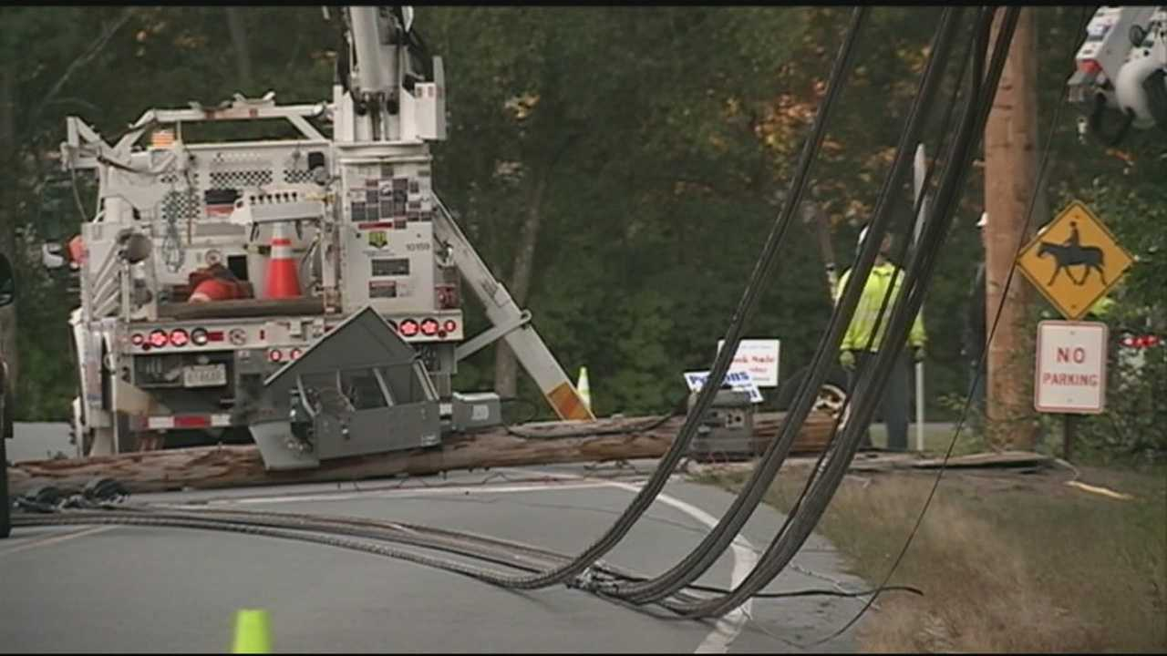 Schools in Pelham were closed Wednesday after a crash knocked out power and brought down electrical lines in front of the high school.