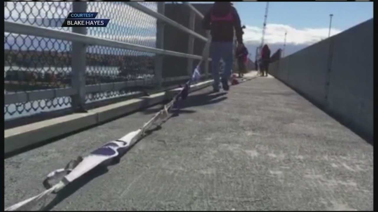 "Radio station Coast 93.1 successfully strung 3,000 bras across the Casco Bay Bridge on Saturday in an event it called ""Bras Across the Bridge."""