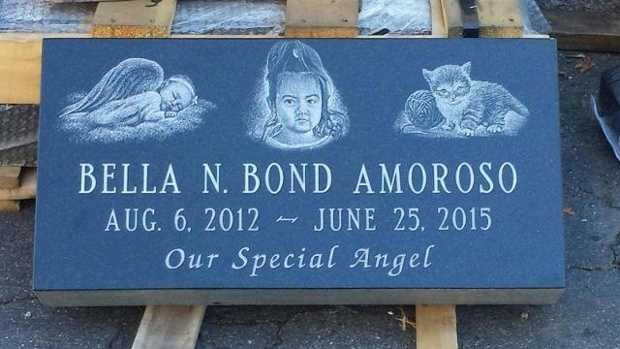 The headstone for the grave of Bella Bond.
