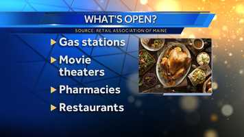 What can be open in Maine on Thanksgiving?