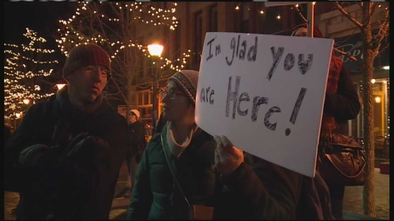 Hundreds of people came to Portland's Monument Square to rally support for refugees coming to the United States.