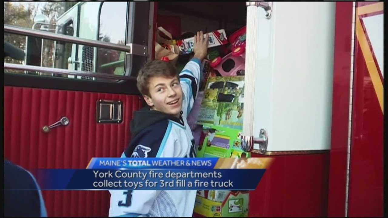 The York VIllage and York Beach fire departments collected toys Saturday for Toys for Tots.