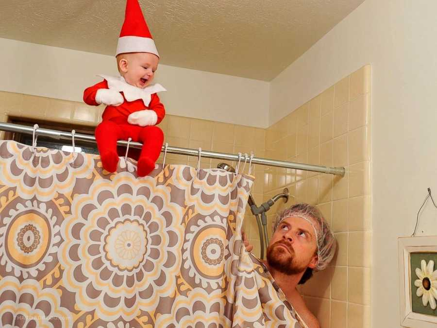 """A dad in Utah brought the """"Elf on the Shelf"""" doll to life, with the help of his adorable son."""