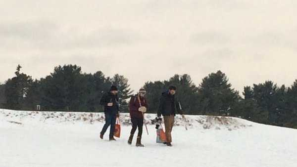 Skaters head to the ice rinks at Riverside Golf Course in Portland