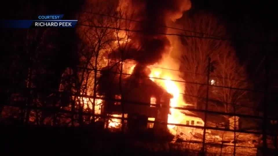 An explosion and fire leveled a home in Union Thursday morning. See raw video from the scene.