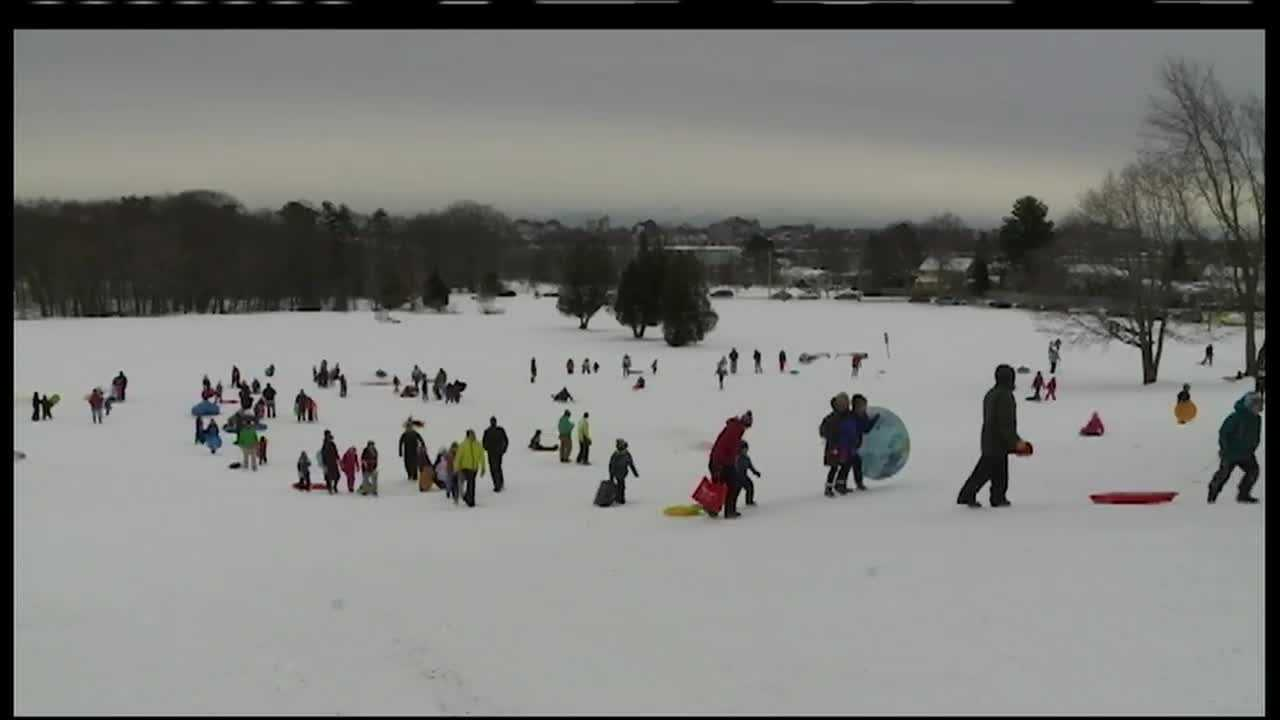 Hundreds of Maine kids got to enjoy winter activities from sledding, skating and snowshoeing at Portland's Payson Park Saturday.