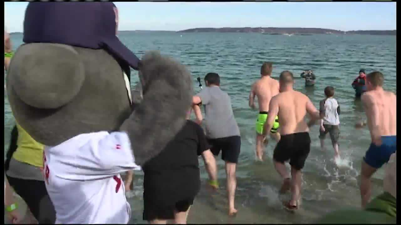 A Polar Plunge for Camp Sunshine at Portland's East End Beach raised enough money to end a family to the retreat.