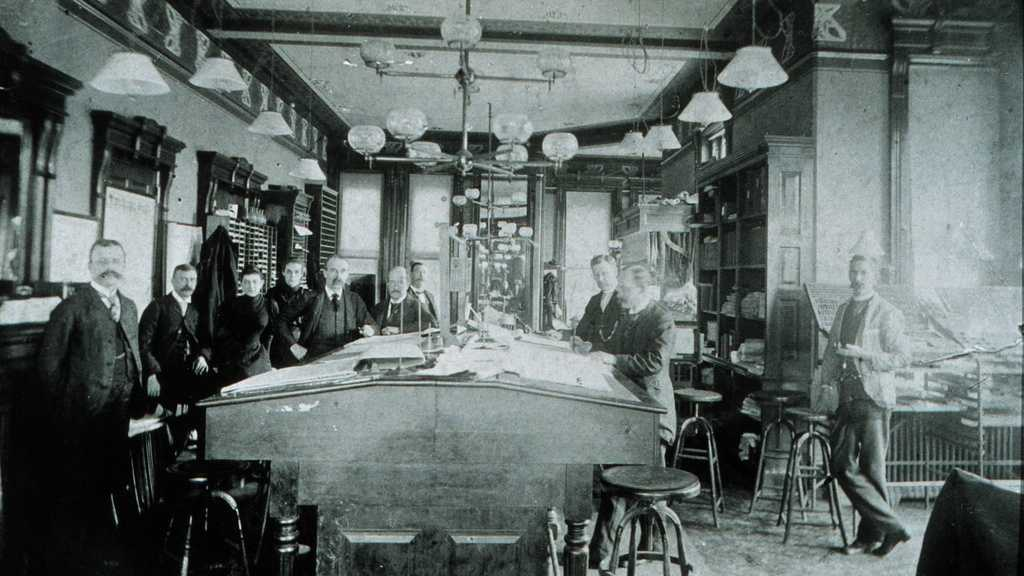 A Weather Bureau office - location and date unknown. Ca. 1900