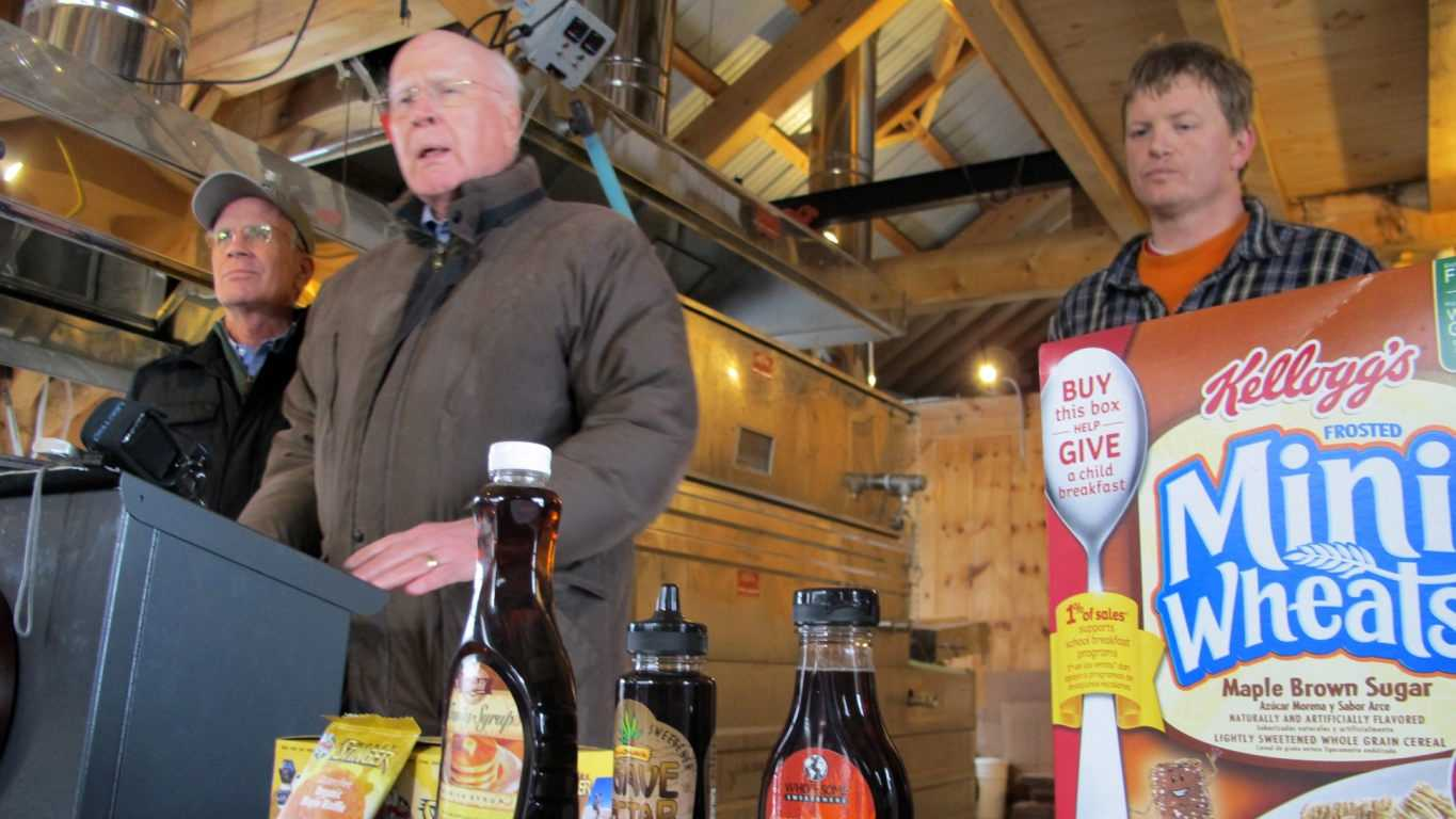 "U.S. Rep. Peter Welch, D-Vt., left, is joined by U.S. Sen. Patrick Leahy, D-Vt., center, and Roger Brown, of Slopeside Syrup, right as they talk about a request by maple producers that the Food and Drug Administration crack down on food producers who use ""maple"" in their labeling when there isn't any syrup in their products, during an event Tuesday, Feb. 16, 2016, in Richmond, Vt. In a letter to the FDA, Vermont producers were joined by maple associations from Maine to Wisconsin who want the FDA to take enforcement action to either remove the maple branding from the products or have the companies add maple syrup to them."