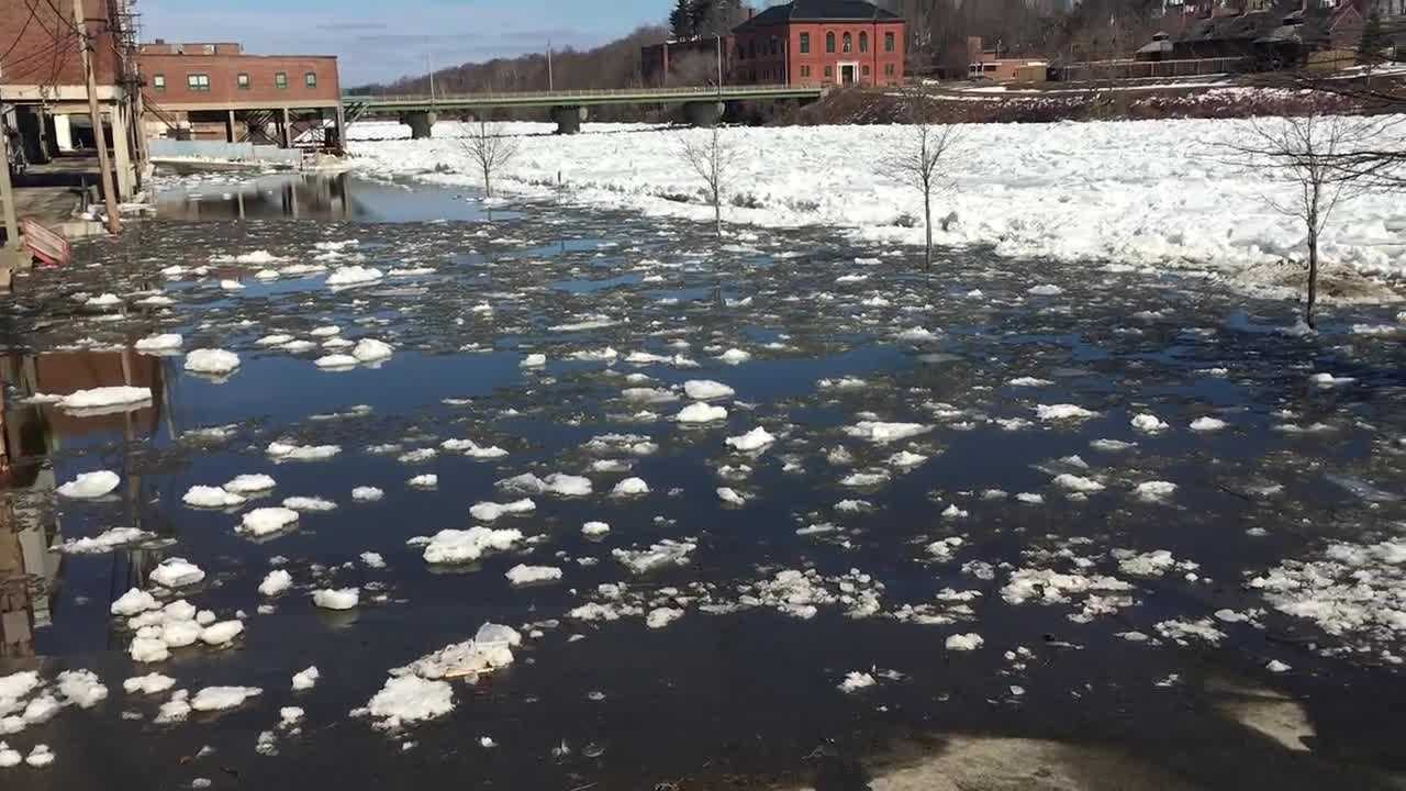 An ice jam flooded part of downtown Augusta on Wednesday, prompting the National Weather Service it issue a flood warning.