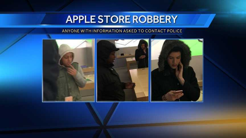 Police are seeking the public's help in identifying people who may been involved in stealing thousands of dollars worth of merchandise stolen from the Apple Store at the Maine Mall.