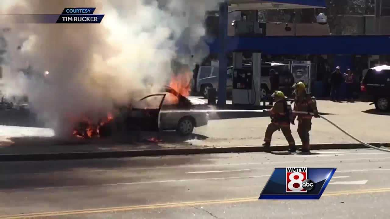 Lewiston firefighters quickly extinguished a car on fire at the Elizabeth Ann General Store. (Video courtesy: Tim Rucker)