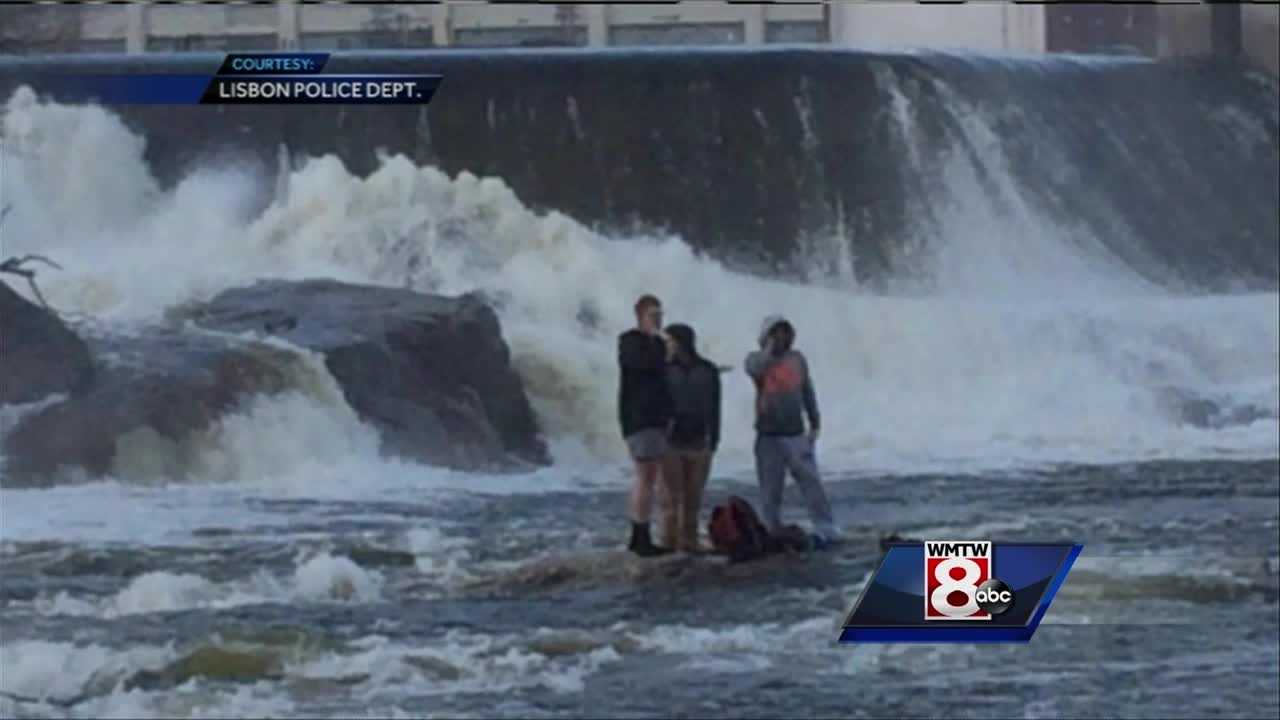 Crews rescued three teenagers from the Androscoggin River on Saturday, officials said.