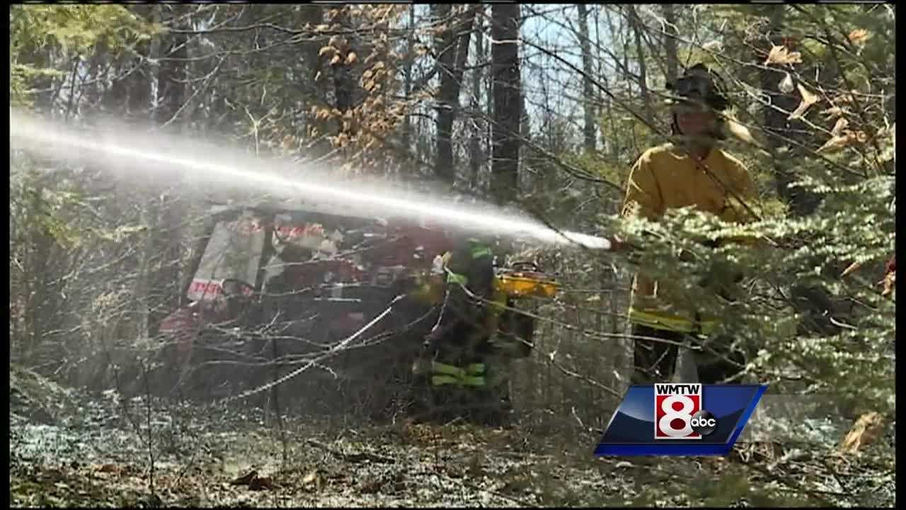 Several local fire departments responded to a reported woods fire along South Bridgton Road in Sebago.