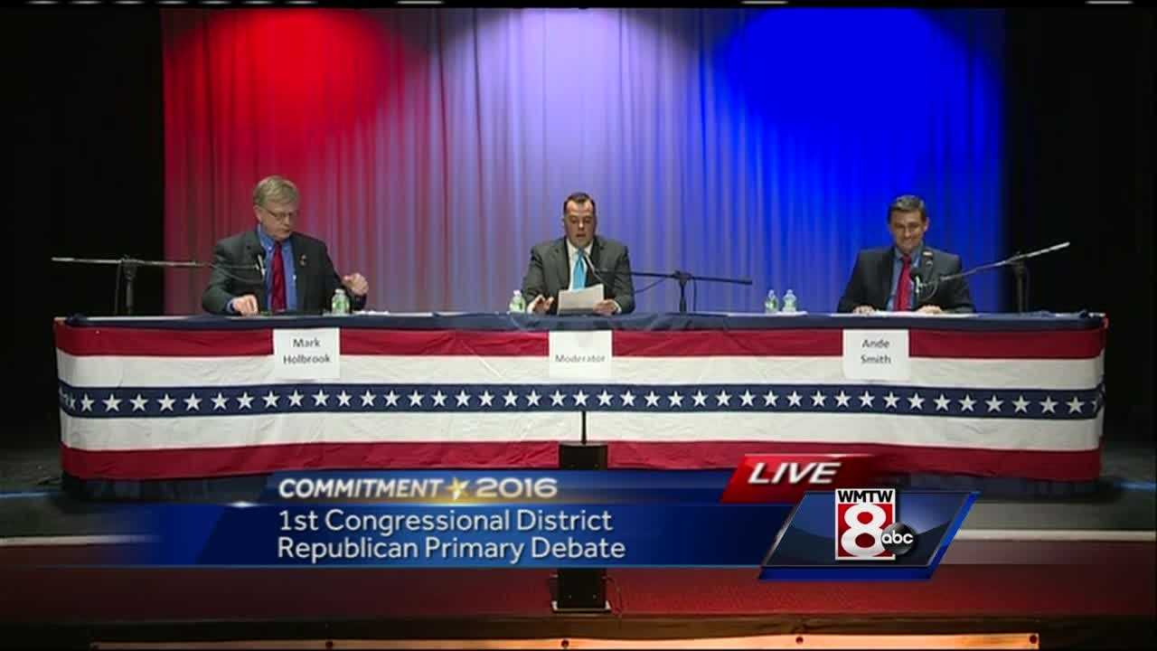 WMTW News 8's Paul Merrill moderates a debate between GOP 1st District Congressional candidates Mark Holbrook and Ande Smith.
