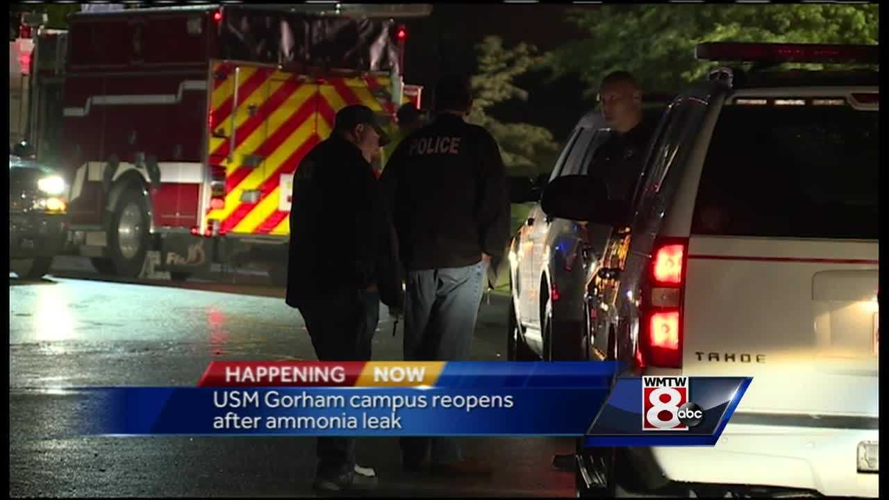 An ammonia leak at the University of Southern Maine in Gorham late Friday night prompted a campus wide evacuation.