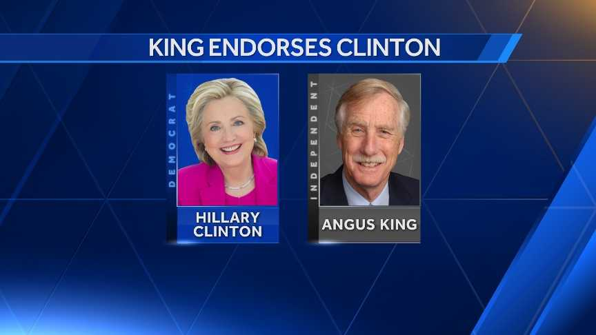 U.S. Sen. Angus King has formally endorsed presumptive Democratic nominee Hillary Clinton for president. The endorsement came during in an interview on CNN's New Day Thursday morning.