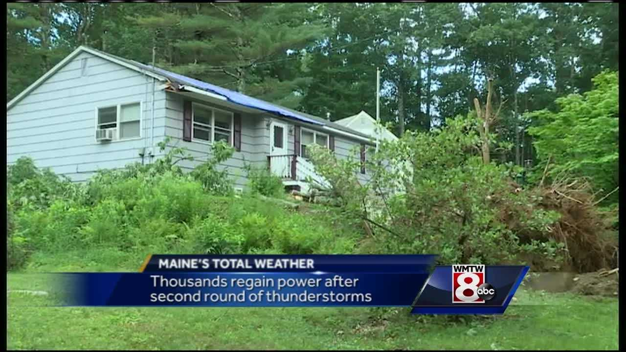 Severe thunderstorms rocked southern and central Maine for a second day, bringing down trees and power lines.