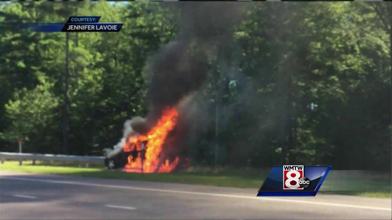 A car fire on the Maine Turnpike northbound slowed traffic in both directions Sunday morning.