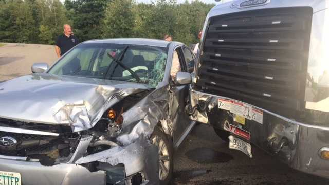 A New Hampshire man sustained non life-threatening injuries following a crash involving a truck driver from Berwick. (Photo courtesy Rochester Police).