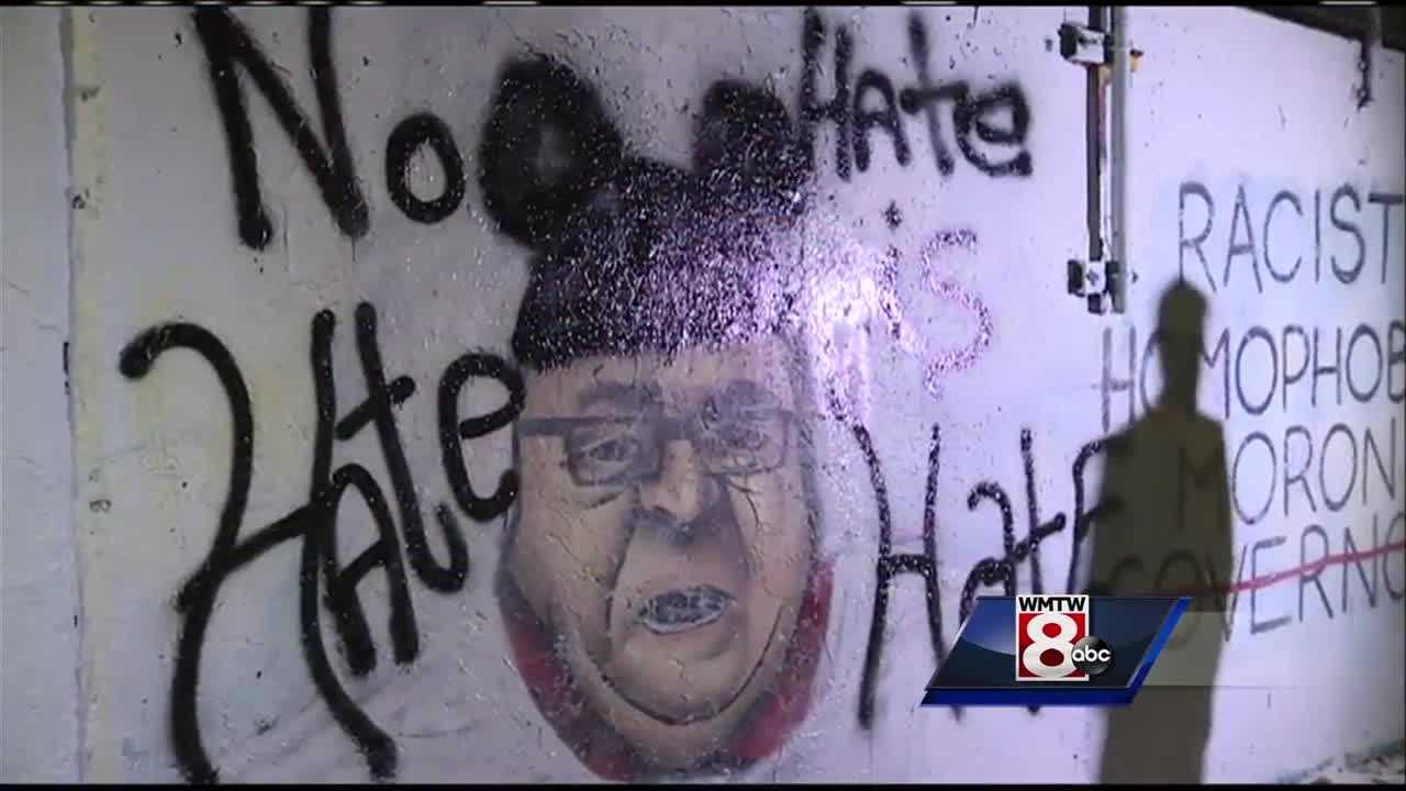 A controversial mural in Portland attacking Gov. Paul LePage drew a lot of attention Tuesday night.