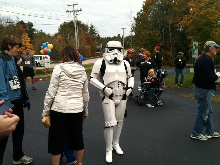 Someone dressed up as a storm trooper for the Easy As Pi race.