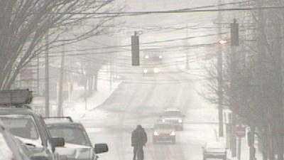Snow falling in Portland