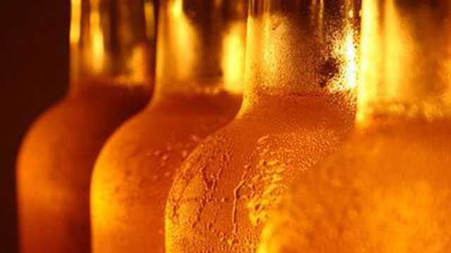 bottles of beer with condensation