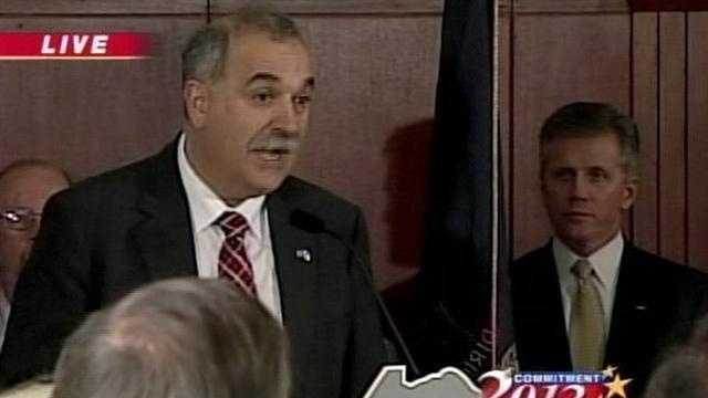 Maine's Republican Chairman Charlie Webster announces Mitt Romney as the winner of the Maine Republican Caucus.