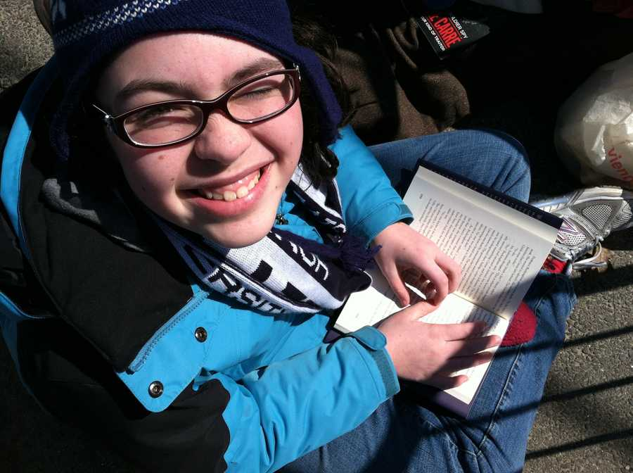 Seventh-grader Gwyneth Zelmanow is the first in line at Southern Maine Community College to see President Barack Obama Friday night.